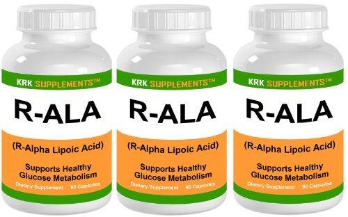 3 Bottles R-ALA R-Alpha Lipoic Acid 200mg 270 Total Capsules KRK Supplements by KRK SUPPLEMENTS
