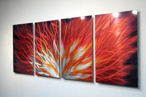 Metal Wall Art, Modern Home Decor, Abstract Sculpture Contemporary- Fiamma 4 Panel by Miles Shay by Miles Shay