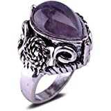Natural Amethyst Water Drop Shaped Antique Silver Plated Ring Jewelry Gift NEW LOVE STORY (6.5)