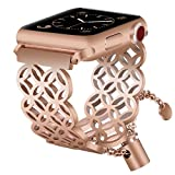 for Apple Watch Band 38mm Rose Gold Women Feminine, VIGOSS Luxury Apple Watch Bands Jewelry Cuff Edition Hollow Hoop Bracelet Stainless Steel Bangle Strap for iWatch Series 3/2/1,Nike+ (Window grille)