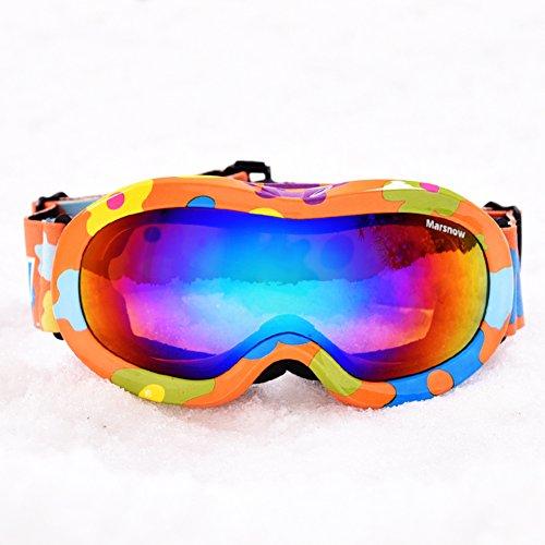 SE7VEN Lunettes De Ski De La Double Couche D'enfants,Anti-buée 100 % Protection Uv Lunettes De Sphercial Large Lunettes Myopie Compatible Lunettes D'hiver E