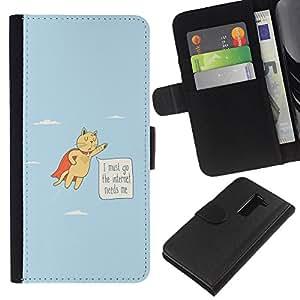 LG G2 D800 D802 D802TA D803 VS980 LS980 , la tarjeta de Crédito Slots PU Funda de cuero Monedero caso cubierta de piel ( Cat Funny Flying Quote Internet Addiction Hero)