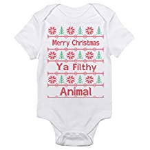 Merry Christmas Ya Filthy Animal Ugly Sweater Funny One-piece Baby Bodysuit Gift
