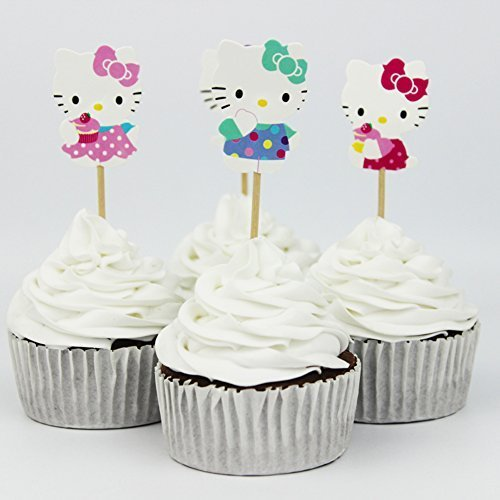 24pcs Cute Kitty Cat Cupcake Toppers for Theme Party Birthday Cake Decorations (Kitty Cupcake Hello Toppers)