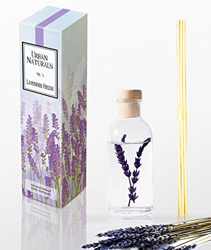 Natural Lavender Fields Oil Aromatherapy Essential Oil Reed Diffuser Set with Real Lavender Stems! French Blossoms, Geranium & Clary Sage   #1 Gift Idea for Stress Relief