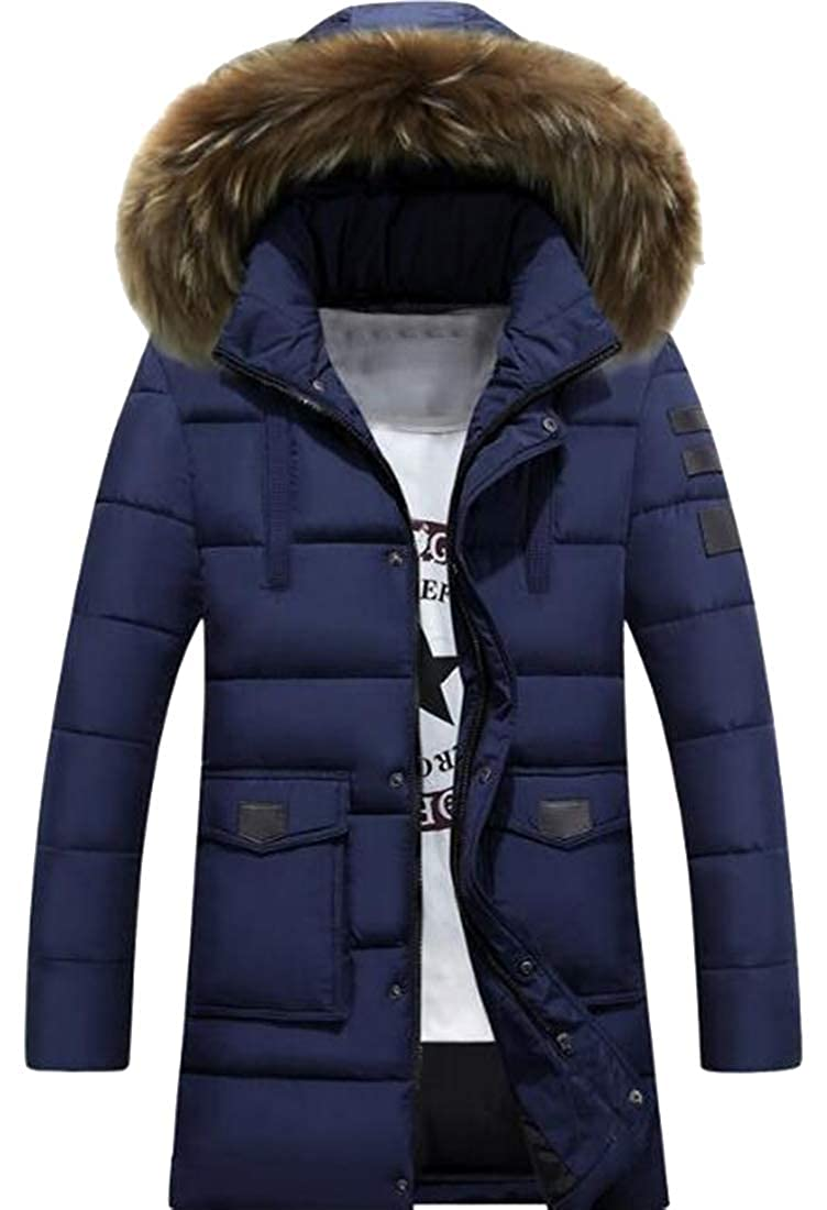 Bloomyma Mens Plus Size Mid Length Fall Winter Faux Fur Hooded Quilted Jacket Coat Outerwear