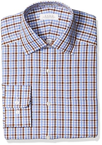 Enro Men's Concord Check Non-Iron Classic Fit Dress Shirt, Brown, 160 x 34/35
