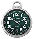 Gotham Men's Silver-Tone Ultra Thin Railroad Open Face Quartz Pocket Watch # GWC15027SG