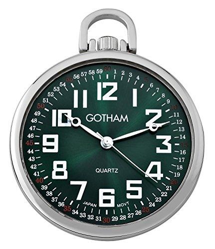 (Gotham Men's Silver-Tone Ultra Thin Railroad Open Face Quartz Pocket Watch # GWC15027SG)