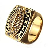 Budazo Mens Titanium Steel Diamond Rugby Championship Rings,Size 9
