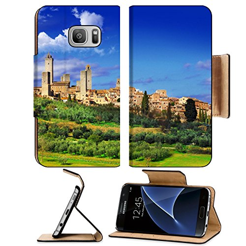 MSD Premium Samsung Galaxy S7 Flip Pu Leather Wallet Case San Gimigniano beautiful medeival town of Tuscany 26621214
