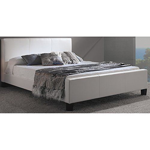 euro platform bed with side rails and soft upholstered exterior white finish full