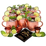 Set of 8 Moscow Mule Copper Mugs | Pure Copper Drinking Cups in Bulk | Set of 8 Solid Copper Moscow Mule Mugs + 1 BONUS Mug (9 Total) + 3 Copper Shot Glasses | Heavy Gauge Copper Mugs for Moscow Mules