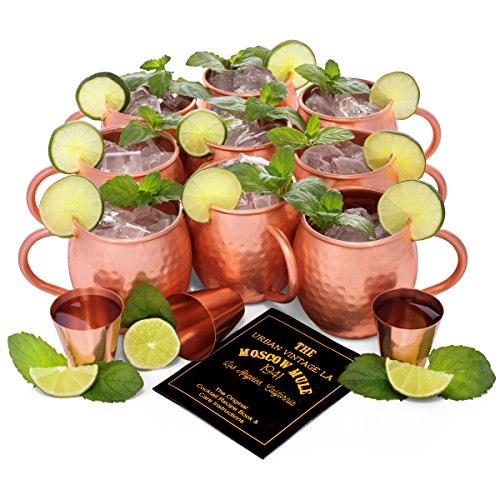 Set of 8 Moscow Mule Copper Mugs | Pure Copper Drinking Cups in Bulk | Set of 8 Solid Copper Moscow Mule Mugs + 1 BONUS Mug (9 Total) + 3 Copper Shot Glasses + Recipe Book | Heavy Gauge, Hammered