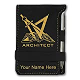 Mini Notepad, Architect Symbol, Personalized Engraving Included (Black)