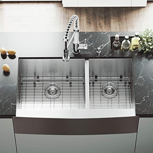 VIGO VG3620BLK1 36 Inch Double Bowl 16 Gauge Stainless Steel Commercial Grade Farmhouse Apron Front Kitchen Sink with Two Grids and Two Strainers, Rounded Corners and SoundAbsorb Technology (Vigo Bowl Double Sink)