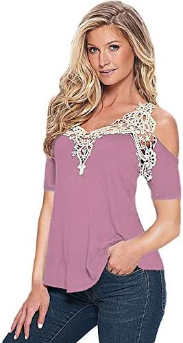 2019 New Women's Lace Patchwork T-Shirt,Fulijie Casual Deep V-Neck Summer Off Shoulder Shirt Blouse Tops