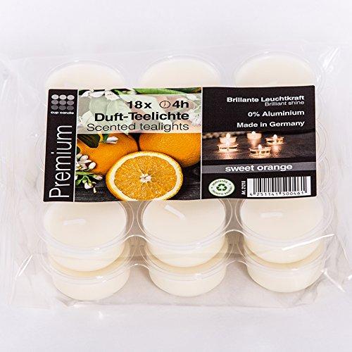 Cup Candle Sweet Orange transparente transluzente durchsichtige Acryl Teelichter mit Duft 4 Stunden Brenndauer in grün ohne Aluminium zur Dekoration oder Festlichkeiten