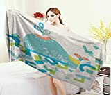 Anniutwo Whale,Bath Towel,Whale Illustration with Geometrical and Cute Smiling Cartoon Like Image,Bathroom Towels,Blue Yellow and Green Size: W 31.5'' x L 63''