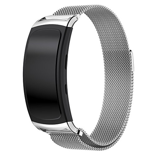 Maxjoy for Samsung Gear Fit 2 Band, Milanese Loop Replacement Bands Stainless Steel Bracelet Metal Strap with Magnet Clasp for Samsung Gear Fit2 SM-R360 Smart Watch, Silver