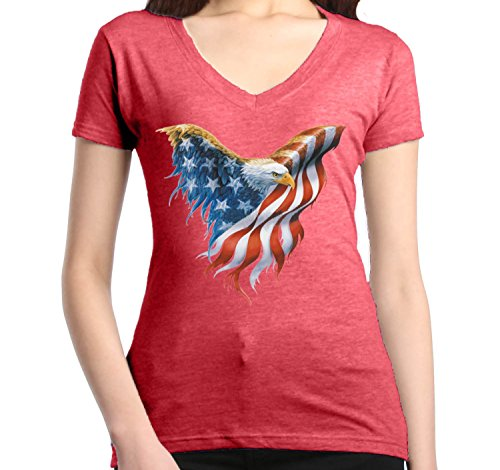 July Womens V-neck T-shirt - Shop4Ever Eagle USA Flag Women's V-Neck T-Shirt 4th of July Shirts XX-LargeHeather Red12260