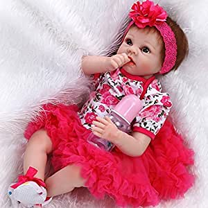 ZIYIUI Realista Reborn Baby Doll 22pulgadas 55 cm Silicona Vinilo Muñecas Bebe Reborn Magnetismo Juguetes Regalos Ojos Abiertos