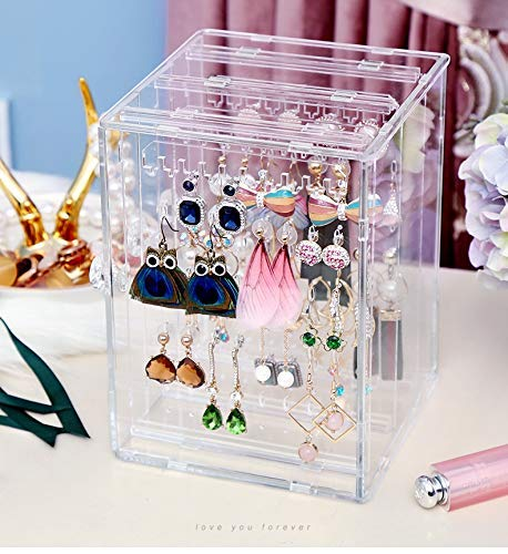 Cq acrylic Earring Holder Jewelry Hanger Organizer Foldable Acrylic Earring Screen Display Stand Hanging Earrings Bracelets Necklaces Pack of 1