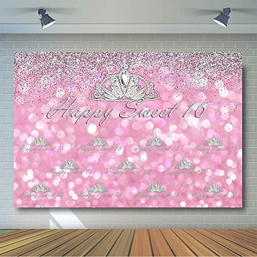 COMOPHOTO 7x5ft Crown Happy Sweet 16 Photo Background Diamond Pink Glitter Birthday Party Banner Photography Backdrops for Photobooth Props]()