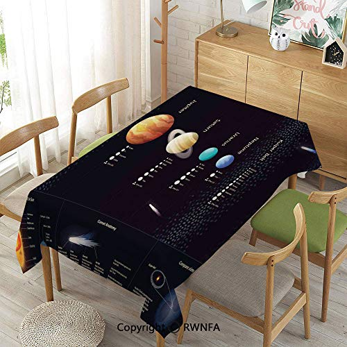 (Homenon Decorative Rectangular Table Cloth,Detailed Solar System with Scientific Information Jupiter Saturn Universe Telescope Print,Indoor Outdoor Camping Picnic,Multi,55
