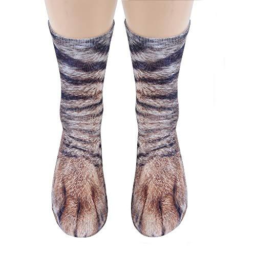 3D HD Print Funny Socks, YAMATE Sublimated Elastic Realistic Animal Paw Crew Socks for Unisex Kids Boys Girls (Cat) ()
