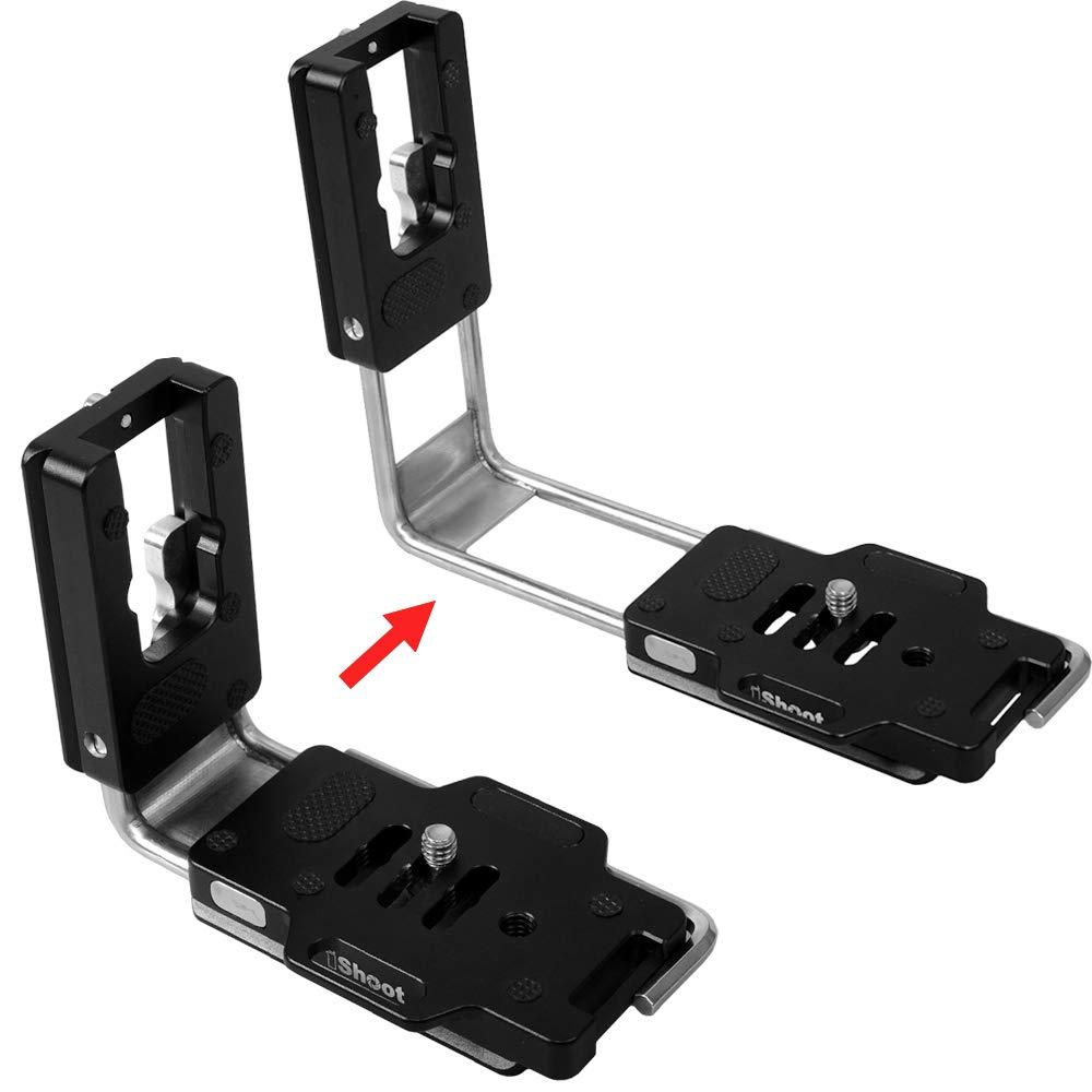 汎用 調節可能なL字型 垂直 シュート クイックリリースプレート, カメラ グリップブラケッ/マウント/ベース/アダプタ for キヤノンCanon ニコンNikon ソニーSony ペンタックスPentax オリンパスOlympus シグマSigma 富士Fuji Fujifilm SLR/SLT Cameraバッテリーグリップ付き/なし, ARCA -SWISS 三脚/ボールヘッド/雲台に互換 B07H978HHN