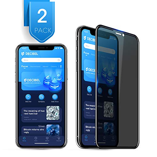 2 Pack Compatible with iPhone X XS Privacy Screen Protector Premium 4D Curved Full Coverage Anti Spy Tempered Glass Screen Protector for iPhone X XS 2017 2018 5.8 inch