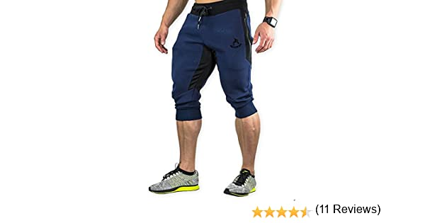 Shakestron Mens 3//4 Joggers Workout Capri Pants Gym Shorts Athletic with Pockets