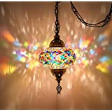 (8 Colors) DEMMEX Turkish Moroccan Mosaic Swag Plug in Pendant Ceiling Hanging Light with 15feet Cord Decorated Chain…