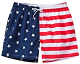 Satankud Men's Quick Dry American Flag Swim Trunk Board Shorts with Lining 803 Red/Blue/White L/33