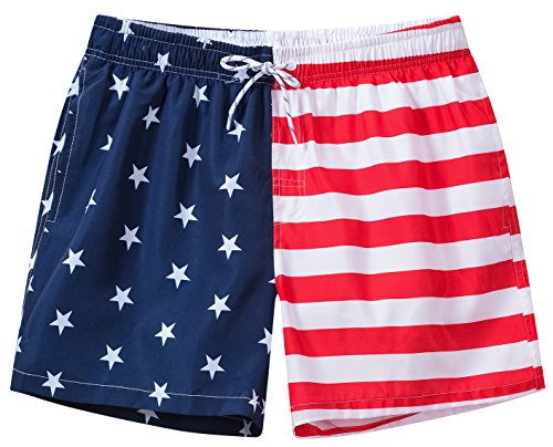 Satankud Men's Quick Dry American Flag Swim Trunk Board Shorts with Lining 803 Red/Blue/White L/33 by Satankud