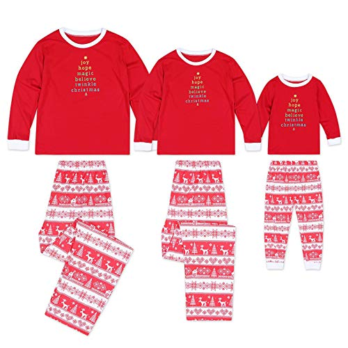 Seogva Christmas Suit Pajamas Matching Family Pjs Christmas Sleepwear Set Separates ,Red/2T ()