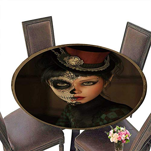 (PINAFORE Round Tablecloths 3D Computer Graphics of a Girl with Sugar Skull Makeup and a Topper ofher Head Dinner, Parties 50