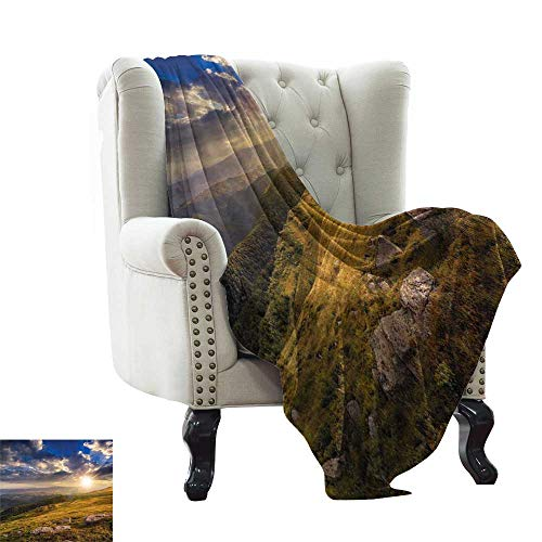 LsWOW Picnic Blanket Waterproof Nature,Mountain Hills Landscape with Vibrant Sunlights on Meadow Misty Rural Panorama,Blue Amber Dust Reversible Soft Fabric for Couch Sofa Easy Care 60