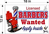 """12"""" X 18"""" PVC SIGN FOR BUSINESS LICENSED BARBER WANTED HELP EMPLOYMENT BEAUTY SALON"""