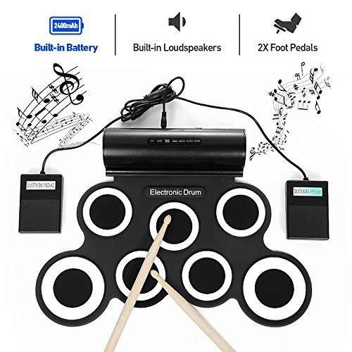 Electronic Drum Set, iWord Hand Roll Up Drum Pad Portable Rechargeable Drum Kit with Headphone Jack Built-in Dual Speaker Drum Pedals Drum Sticks 10 Hours Playtime by iWord