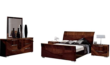 ESF Furniture Capri Modern King Bedroom Set In Walnut Lacquer, 5 Piece