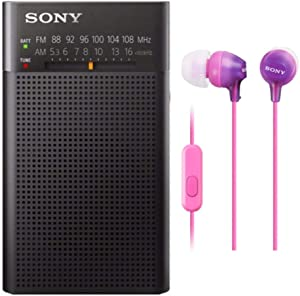 Sony ICFP26 Portable AM/FM Radio (Black) and Color in-Ear Earbud Headphones (Color May Vary) Bundle (2 Items)