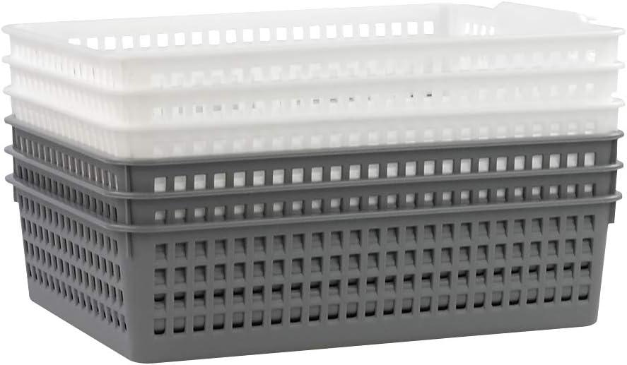 Jekiyo Plastic Basket Tray, Office Paper Tray Organizer, 6 Packs (White, Grey)