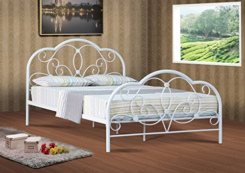Comfy Living Alexis Classic 4ft Small Double white metal bed frame bedstead
