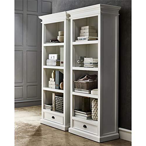 Nova Solo Halifax Bookcase with One Drawer, Pure White