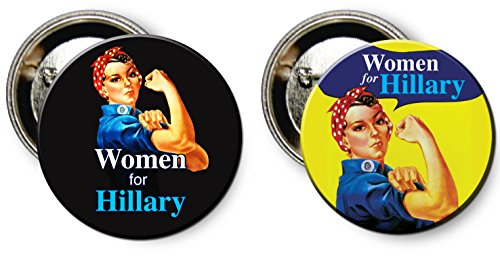 Women for Hillary Clinton / Rosie the Riveter Button Pin Combo Set
