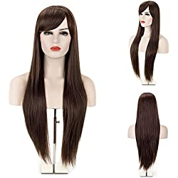 MelodySusie Dark Brown Straight Wig - Fashion Women Long Straight Wig with Free Wig Cap (Dark Brown)