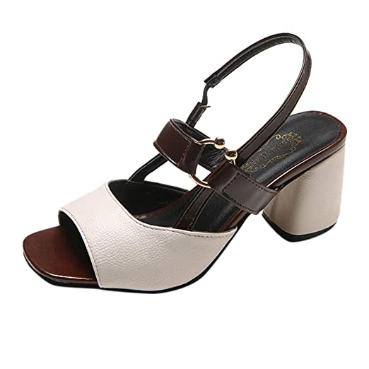 01e89e332241c Amazon.com: AOP❤️Women's Sandals Wild High Heels with A Buckle ...