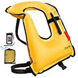 OlarHike Snorkel Vest, Snorkeling Jacket for Man and Women, Inflatable Life Jacket for Diving Swimming Safety, 220 Lbs, Yellow